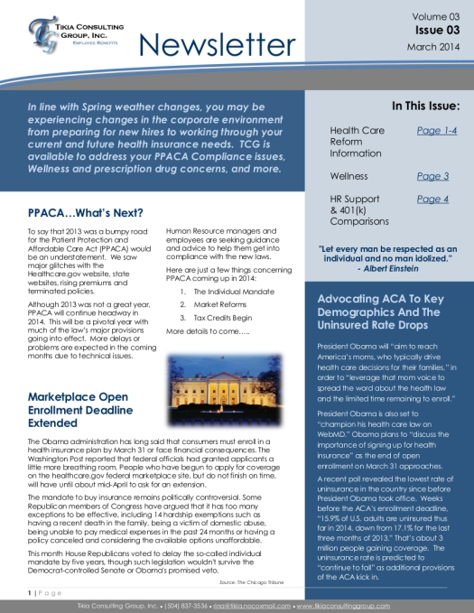 2014 March Newsletter