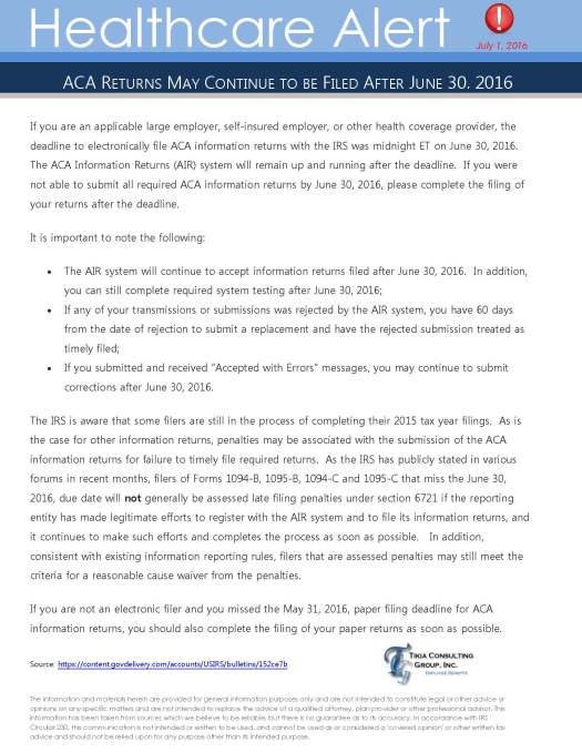 Page 1 from Healthcare Alert July 2016_ACA Information Returns