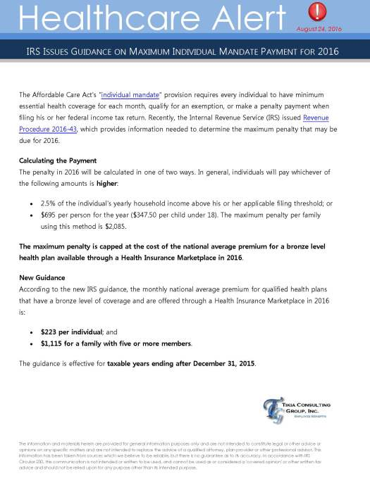Healthcare Alert August 2016_IRS Releases Guidance on Maximum Individual Mandate Payment for 2016