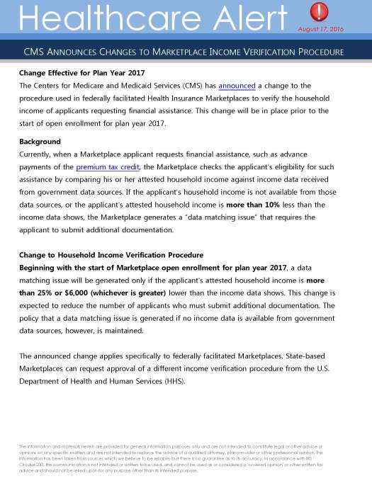 Page 1 from Healthcare Alert August 2016_Change to Marketplace Income Verification Procedure