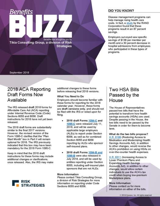 Benefits Buzz September 2018